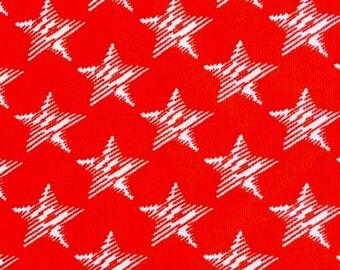 KNIT: Red Stars Knit Fabric. Sold by the 1/2 Yard