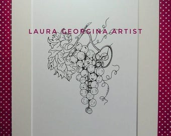 Original botanical illustration, Smiling Grapes, Hand Drawn,Pen & Ink, Monochrome, A4 Mounted 14x11, Original Gift