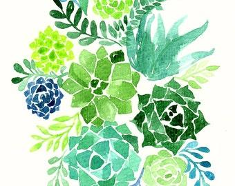Succulents - ORIGINAL Watercolor Painting 6x8