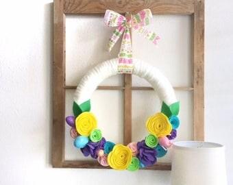 Easter Wreath|Felt Flower Wreath|Spring Wreath|Yarn Wreath|Easter Decor|Easter Felt Wreath
