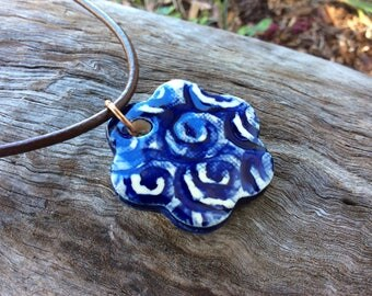 Cobalt blue handmade ceramic pendant