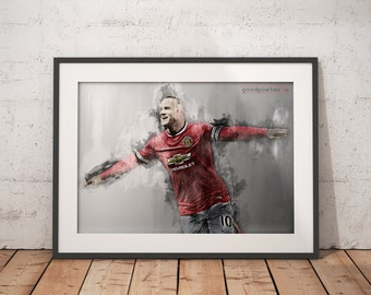 Wayne Rooney print Manchester United wall art home decor