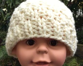 Child's Bulky Winter White Hat