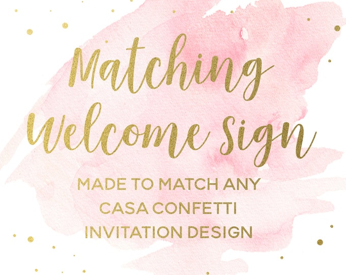 Matching Party Welcome Sign for any Design, Custom Baby Shower Birthday Bridal Shower Baptism Welcome Sign, Party Printable Decorations