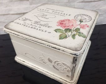 Shabby chic box...Decoupage box...Keepsake wooden box