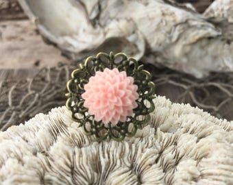 JEWELRY: Flower Filigree Ring / Rose Adjustable Brass filigree Ring/ Gift for Her. {A9-34#00154}