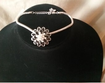 Black Flower Bracelet w/crystal inset