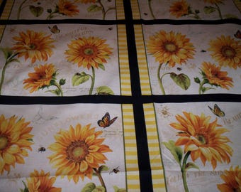 1 panel of 4 blocks Follow the Sun by Lisa Audit for Wilmington Prints cotton fabric Sunflowers black yellow white
