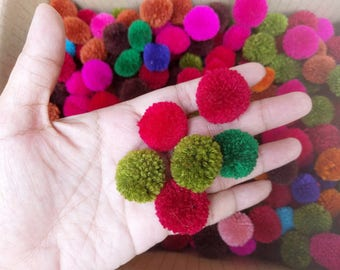 Promotion 100count +Free20 of 2 cm PomPom s mixed colors