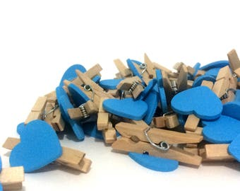 Mini pegs party decorations for wedding favours bomboniere decorative pegs for baby shower favours wooden pegs blue hearts 20 50 100 pieces