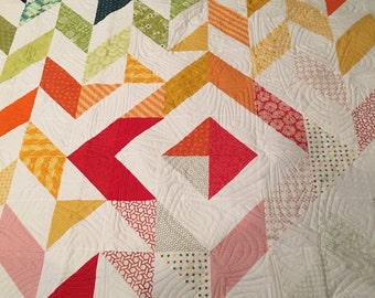 1 homemade quilt, handsewn quilts, modern quilts, for sale, throw, twin, multicolored, warm and comfy, decor