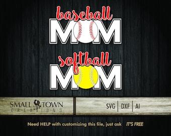 Baseball-Softball MOM SVG Cut Files - Vinyl Cutters, Screen Printing, Silhouette, Die Cut Machines, & More