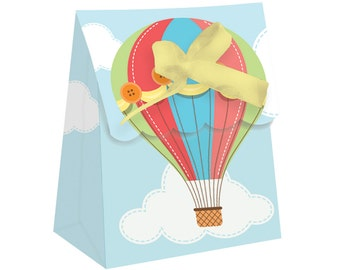 Hot Air Balloon Party Favors, Favor Box, Hot Air Balloon Party Decorations, Up up and Away, First Birthday, Baby Shower, Favor Bag