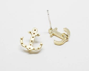 E0139/Anti-Tarnished Matte Gold Plating Over  Brass/Anchor Stud Earrings/9x9mm/2pcs