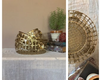 set of 3 hollywood regency basketsgold filagree baskets gold baskets bathroom baskets - Bathroom Baskets