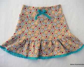 Rock, tiered skirt, Gr. 104/110, Jersey, sweetheart