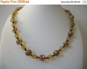 ON SALE Vintage 1950s Glass Millifiori Italian Frosted Shorter Length Necklace 112816