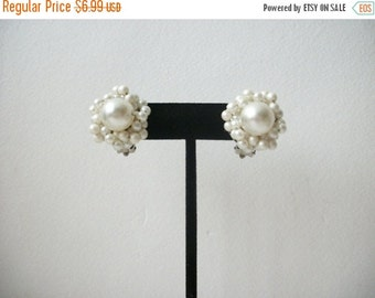 ON SALE Vintage HONG Kong Faux Pearls Cluster Clip On Earrings 13117