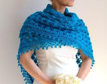 Turquoise shawl, turquoise wrap, evening shawl, glitter shawl, crochet shawl, wedding shawl, gift for her, fast shipping, ready to ship