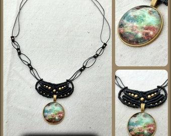 Macrame necklace necklace with universe Galaxy cabochon pendant