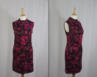 1960s Pink Watercolour Shift Dress * Size X-Small