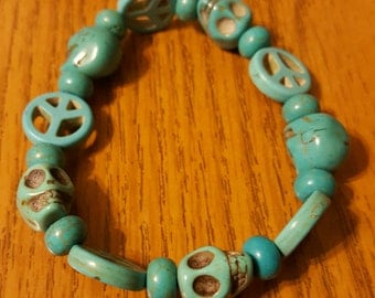 Turquoise skull and peace sign bracelet