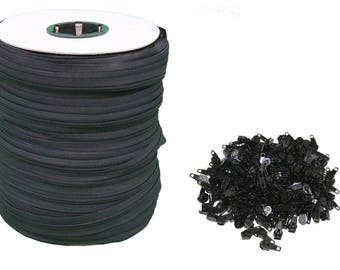 Black #5 Zipper 250 Yards [750 Ft] Roll - Includes 250 Zipper Heads