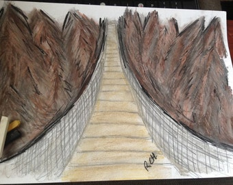 Charcoal SoftPastel Graphite Woodland Bridge Sketch Drawing A4