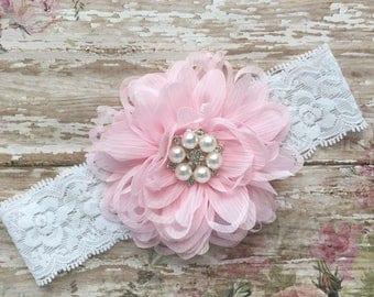 Light pink Baby headband, light pink headband, baptism headband, christening headband,white lace and pink baby headband, light pink headband