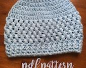 Crochet Bun Hat Pattern/ Textured Messy Bun Beanie/ Crochet Ponytail Hat Pattern/ Crochet Hat Pattern/ Bun Beanie Pattern/ Top Knot Hat