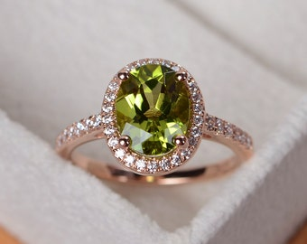 Peridot ring, rose gold, halo ring gold, engagement ring rose gold, oval cut, August birthstone ring