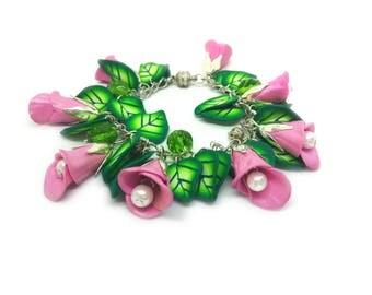 Pink flower bracelet - Polymer clay floral bracelet - Flower cha cha charm bracelet - Polymer clay jewelry set - Gift for her