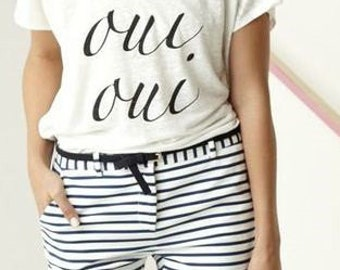 OUI OUI French Ladies Scoop Neck Tee