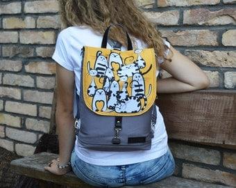 "Custom Mini Backpack, Waterproof Backpack, Boho Festival Backpack, Women's Rucksack, City Backpack, 11"" Laptop Backpack, Caturday Bag"