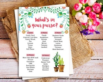 What's in your purse, Fiesta Bridal Shower Games, Mexican Bridal Shower Games, Fiesta Mexican Bridal Shower theme, printable bridal shower