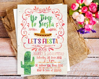 No Time to Siesta, let's fiesta invitation, Fiesta Cactus themed party Invitations, Southwestern invitation cactus 1st birthday, rustic