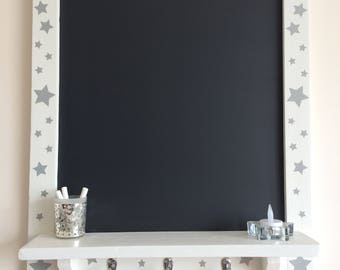 SALE 10% OFF ~ Large Kitchen Chalkboard, Wedding Chalkboard, Framed Blackboard, Reclaimed Wood, Hand Painted Annie Sloan ~ Shelf & Hooks
