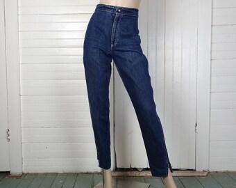 80s Zipper Jeans- 1980s Dark Blue Wash- High Waist, Tapered- Punk Rock New Wave Biker Denim- Skinny Jeans