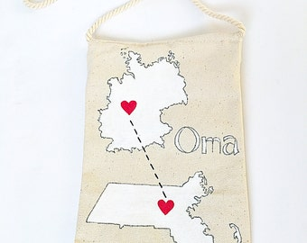 Connecting states purse - custom personalized purse - moving away gift - gift for grandma - -gift for here - gift from grandkids - small bag
