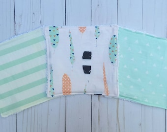 Set of 3 baby washcloths- baby shower gift, baby mint, feathers,  reusable wipes, cloth wipes, wash cloths, bath accessories, gender neutral