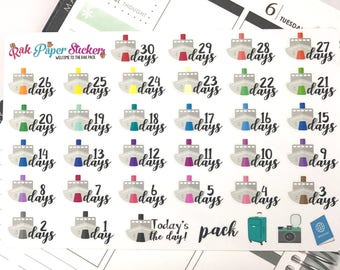 Cruise Countdown! - set of 35 stickers for your Erin Condren, Plum Paper, Filofax, or other calendar or planner!