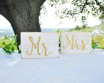 Mr. Mrs. Sweetheart Table Signs - White and Gold