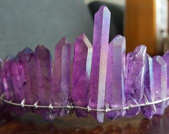 purple aura quartz crystal tiara, cosplay headpiece, fairytale bride, boho bridal headpiece, moon goddess crown, raw crystal hair