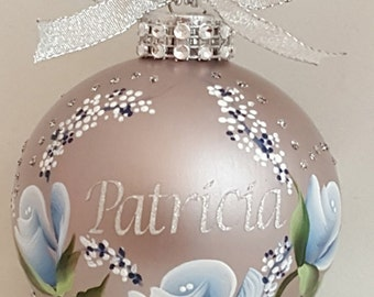 Name Ornament, Customized Name Ornament, Hand painted Personalized Christmas Gift, Christmas Glass Ornament