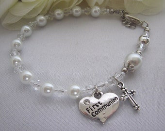 Traditional Catholic Girl's First Communion Silver Rosary Bracelet White Pearl, Single Decade Bracelet, Gift