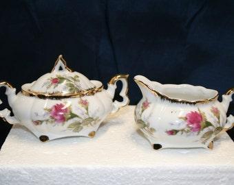 SALE: Vintage Napco Ware sugar bowl & creamer; lidded sugar; rose design; hand decorated gold trim; stickers and stamps