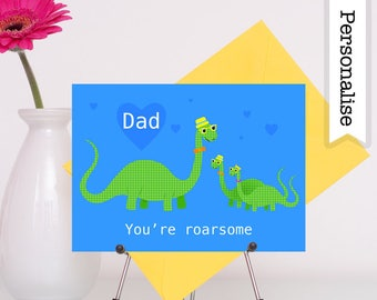 Dinosaur Dad Card, Birthday Card Dad, Funny Dad Birthday Card, Dad Personalised Card, Daddy Birthday Card, Grandad Card, Step Dad Card