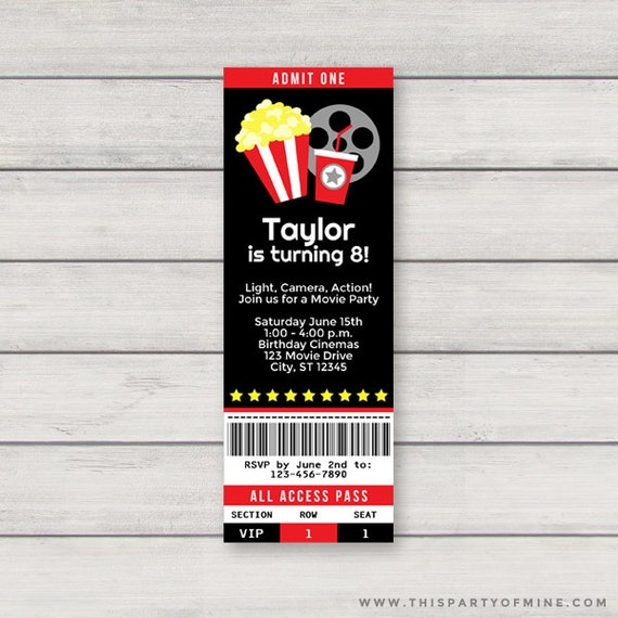 Movie Ticket Invitation PRINTABLE Red Movie Theatre Birthday Party