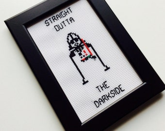 Sale | Darth Vader | Darkside | Star Wars | The Force Awakens | Straight Outta | Gift | Framed | Cross Stitch | Completed | Home