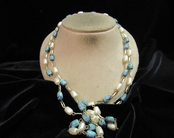 Vintage Long Green & Faux Pearl Beaded Necklace